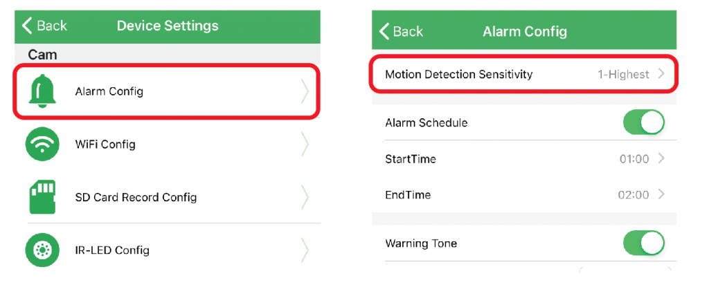 spy camera Alarm Config (Motion Detection) setting